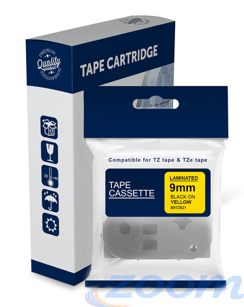 Premium Compatible Brother TZe621, TZ621 Black Text on Yellow Laminated Tape