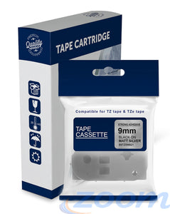 Premium Compatible Brother TZeSM921, TZSM921 Black Text on Strong Adhesive Matt Silver Laminated Tape
