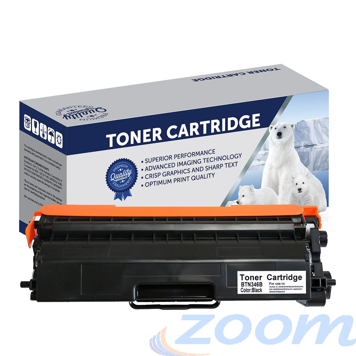Premium Compatible Brother TN346BK, TN341BK Black High Yield Laser Toner