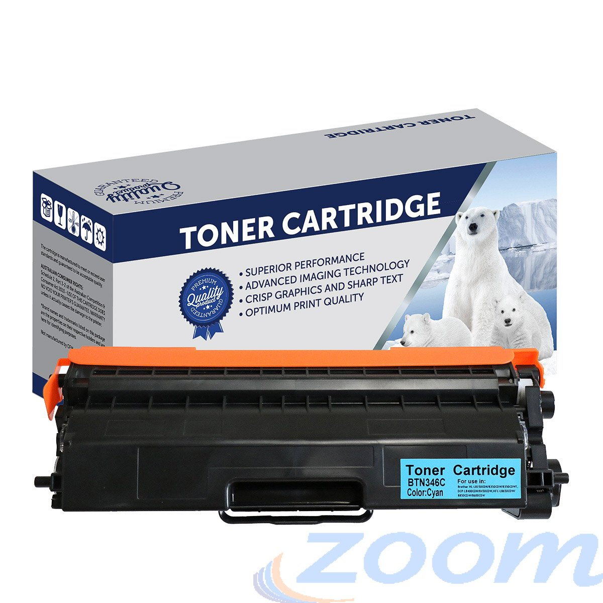 Premium Compatible Brother TN346C, TN341C Cyan High Yield Laser Toner