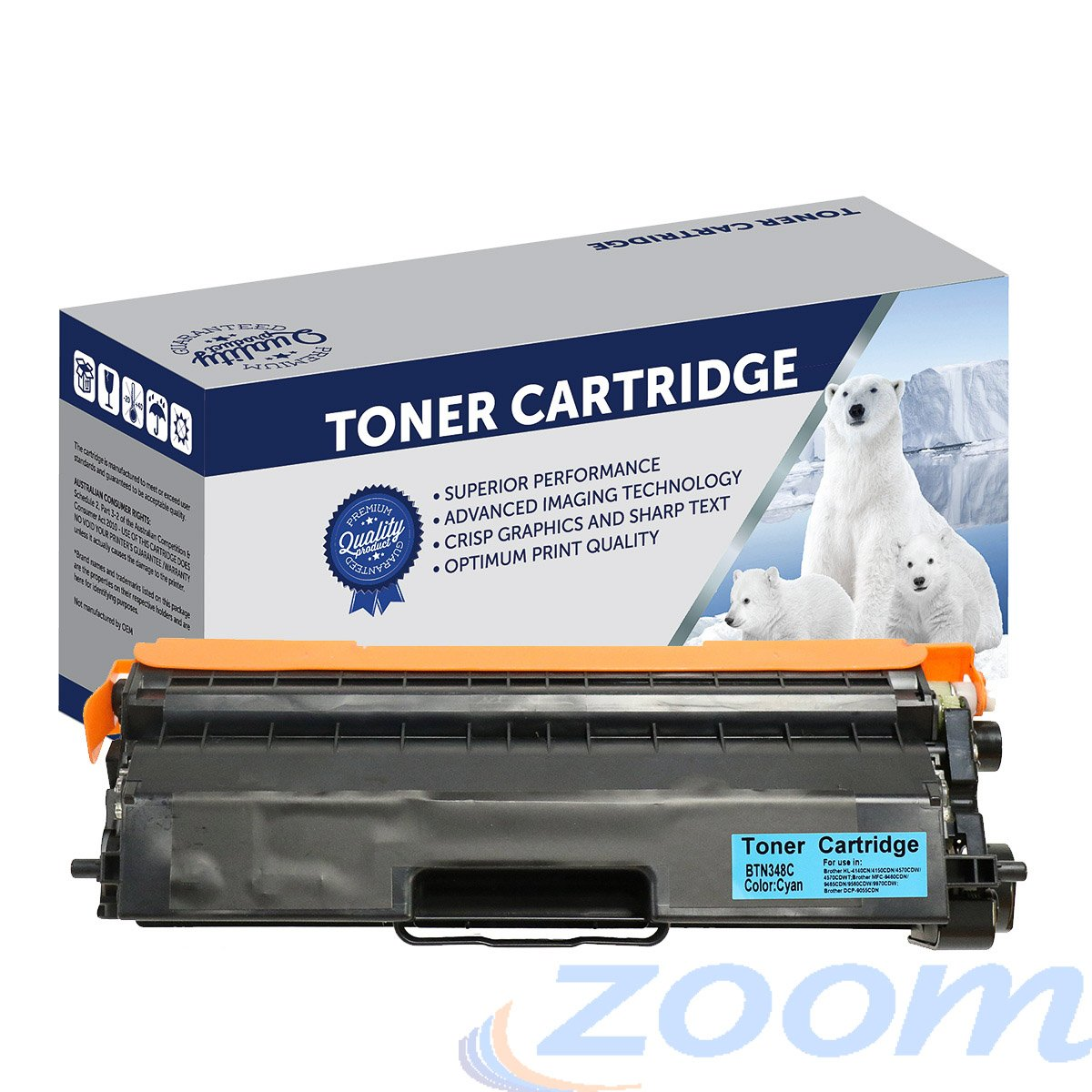 Premium Compatible Brother TN348C, TN340C Cyan High Yield Laser Toner