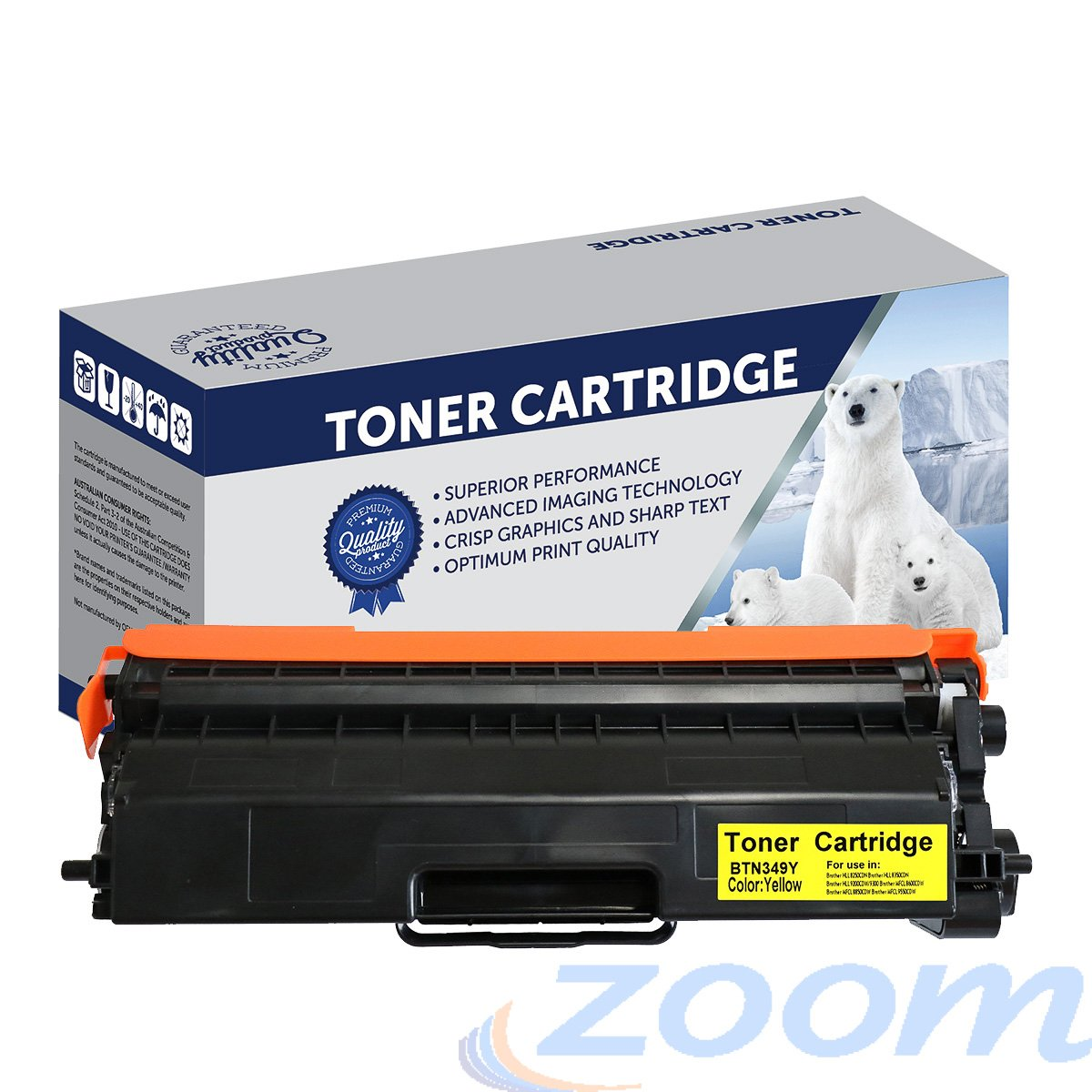 Premium Compatible Brother TN349Y, Yellow High Yield Toner Cartridge