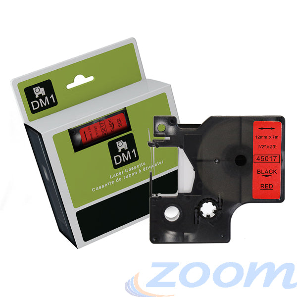 Premium Compatible Dymo SD45017 Black Text on Red Tape