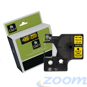 Premium Compatible Dymo SD45018 Black Text on Yellow Tape