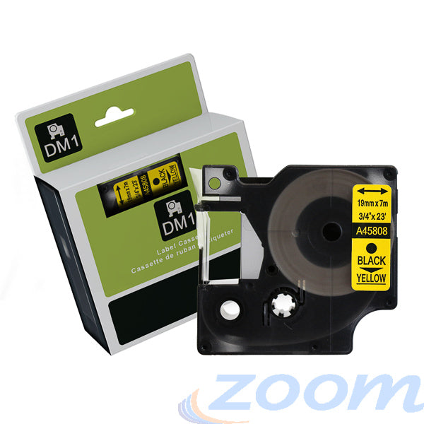 Premium Compatible Dymo SD45808 Black Text on Yellow Tape