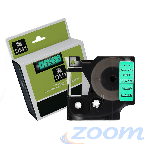 Premium Compatible Dymo SD53719 Black Text on Green Tape