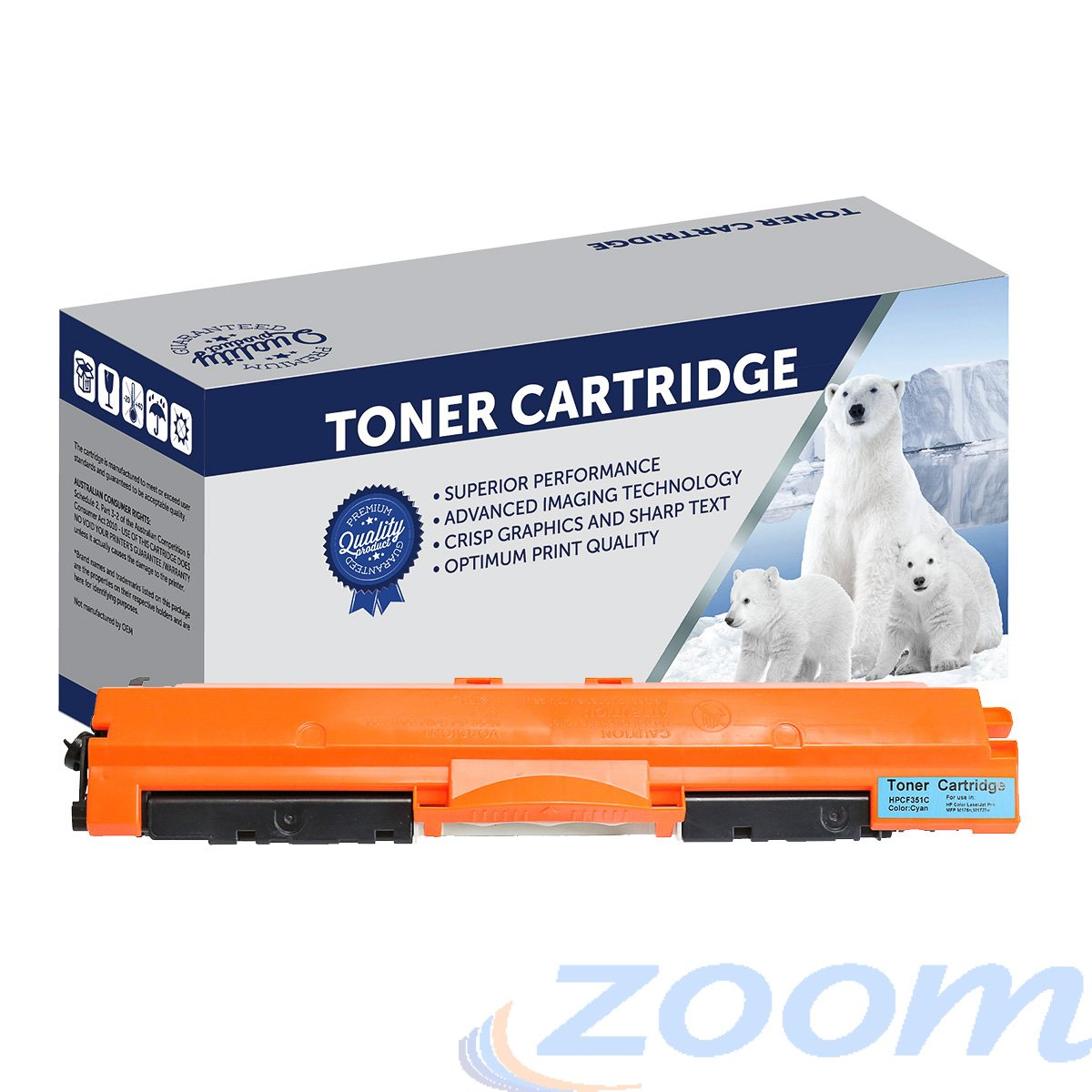 Premium Compatible HP CF351A, #130 Cyan Toner Cartridge
