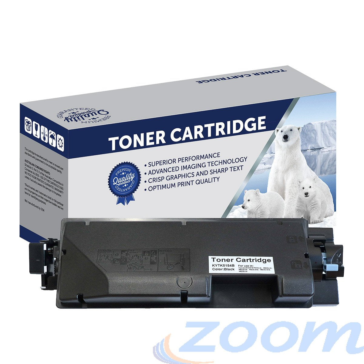 Premium Compatible Kyocera TK5154K Black Toner Cartridge + 1 Waste Container