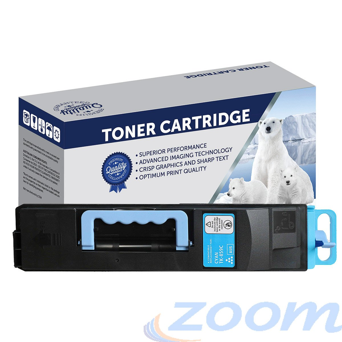 Premium Compatible Kyocera TK859C Cyan Toner Cartridge + 1 Waste Container