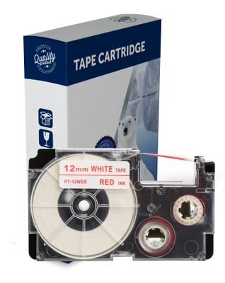 Premium Compatible Casio XR12WER Red Text on White Label Tape