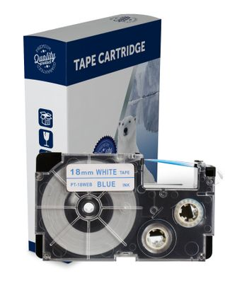 Premium Compatible Casio XR18WEB Blue Text on White Label Tape