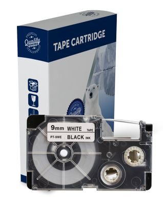 Premium Compatible Casio XR9WE Black Text on White Label Tape