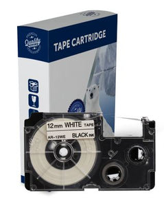 Premium Compatible Casio XR12WE Black Text on White Label Tape