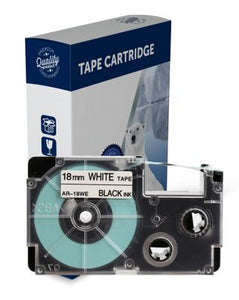 Premium Compatible Casio XR18WE Black Text on White Label Tape