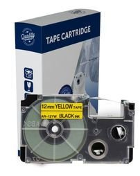 Premium Compatible Casio XR12YW Black Text on Yellow Label Tape