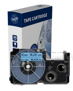 Premium Compatible Casio XR12BU Black Text on Blue Label Tape
