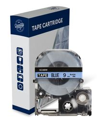 Premium Compatible Epson SC9BW Black Text on Blue Label Tape