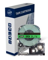 Premium Compatible Epson SC9GW Black Text on Green Label Tape