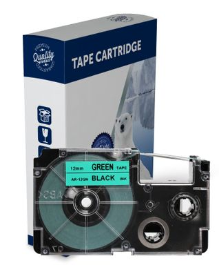 Premium Compatible Casio XR12GN Black Text on Green Label Tape