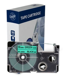 Premium Compatible Casio XR18GN Black Text on Green Label Tape