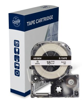 Premium Compatible Epson SS18KW, C53S626100 Black Text on White Label Tape