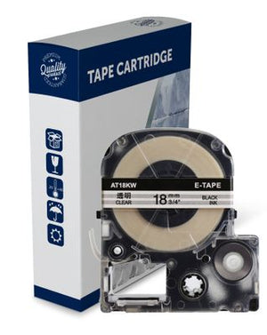 Premium Compatible Epson ST18KW, C53S626101 Black Text on Clear Label Tape