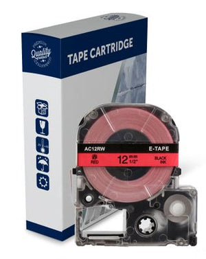 Premium Compatible Epson SC12RW Black Text on Red Label Tape