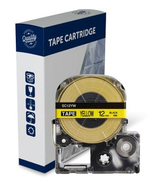Premium Compatible Epson SC12YW, C53S625106 Black Text on Yellow Label Tape
