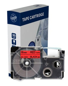 Premium Compatible Casio XR18RD Black Text on Red Label Tape