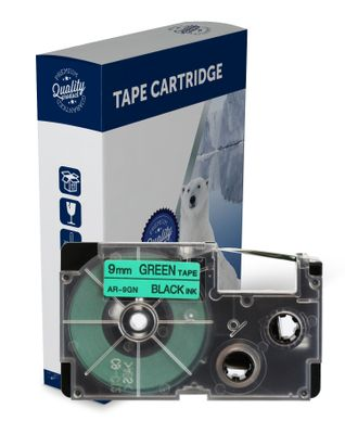 Premium Compatible Casio XR9GN Black Text on Green Label Tape