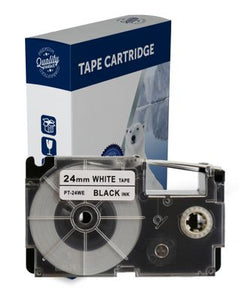 Premium Compatible Casio XR24WE Black Text on White Label Tape