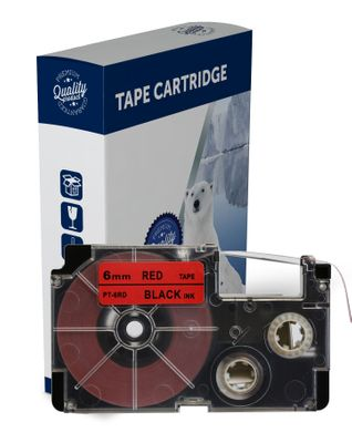 Premium Compatible Casio XR6RD Black Text on Red Label Tape
