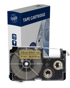 Premium Compatible Casio XR12GD Black Text on Gold Label Tape
