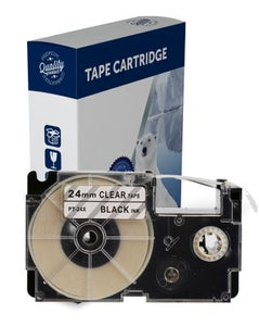 Premium Compatible Casio XR24X Black Text on Clear Label Tape