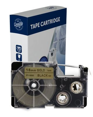 Premium Compatible Casio XR18GD Black Text on Gold Label Tape