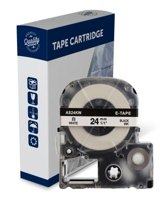 Premium Compatible Epson SS24KW, Black Text on White Label Tape