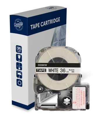 Premium Compatible Epson SS36KW, Black Text on White Label Tape