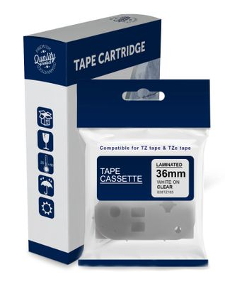 Premium Compatible Brother TZe165, TZ165 White Text on Clear Laminated Tape