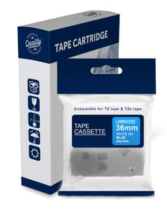 Premium Compatible Brother TZe565, TZ565 White Text on Blue Laminated Tape