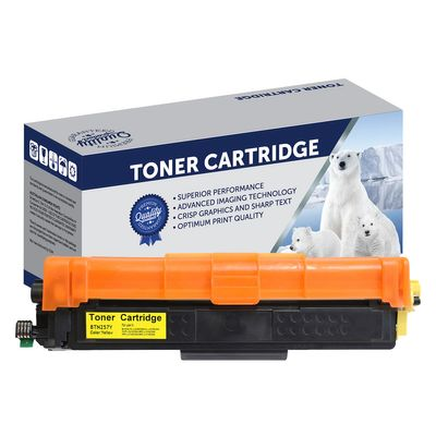 Brother TN257Y, TN253Y, Compatible Yellow High Yield Toner Cartridge - 2,500 Pages