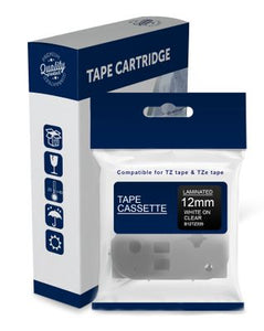 Premium Compatible Brother TZe135, TZ135 White Text on Clear Laminated Tape