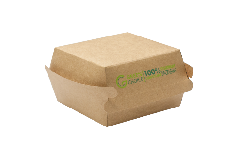 PLA KRAFT CONTAINER - HAMBURGER BOX - 500 PER CARTON