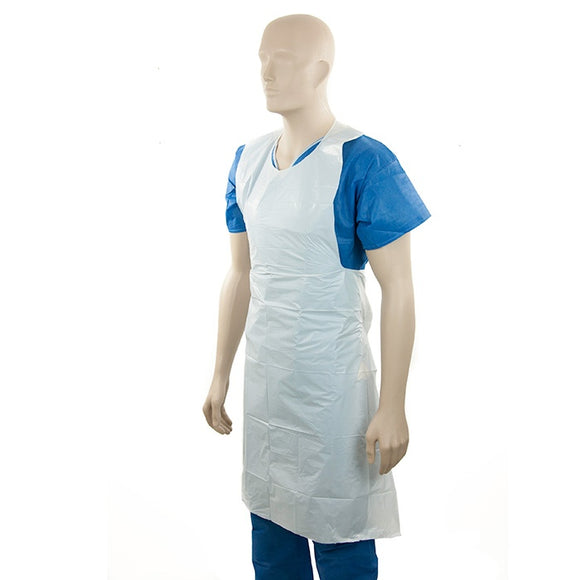 APRON WHITE 40MU H/DUTY -TEAR OFF 50/PACK
