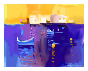 Digital Print: Blue Yellow Composition