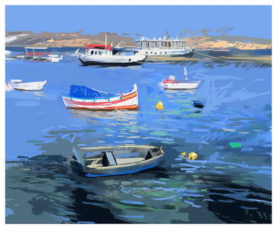 Digital Print: Summer Boats, Saint Paul's Bay