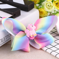 "1 x 4"" Rainbow Hair Bow Clip with Unicorn Badge - The Hair Bowtique"