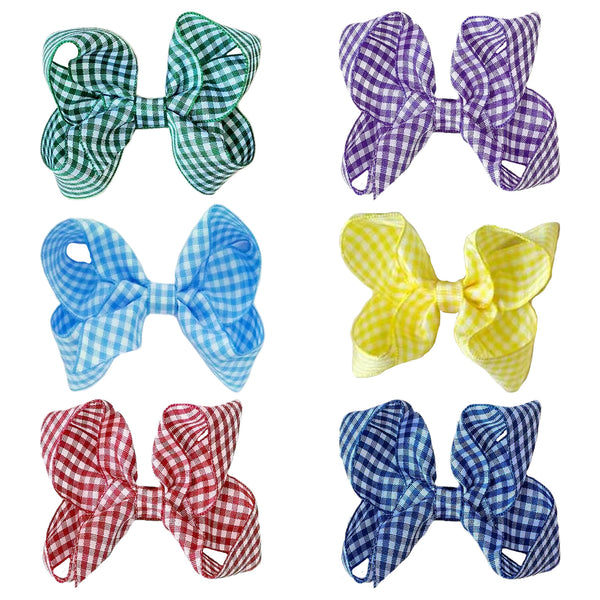 "2 x 3"" Classic Gingham Ribbon Bow Hair Bobbles - The Hair Bowtique"