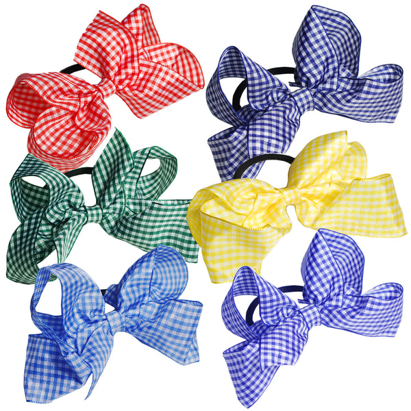 "1 x 5"" Gingham Bow Hair Bobble - The Hair Bowtique"