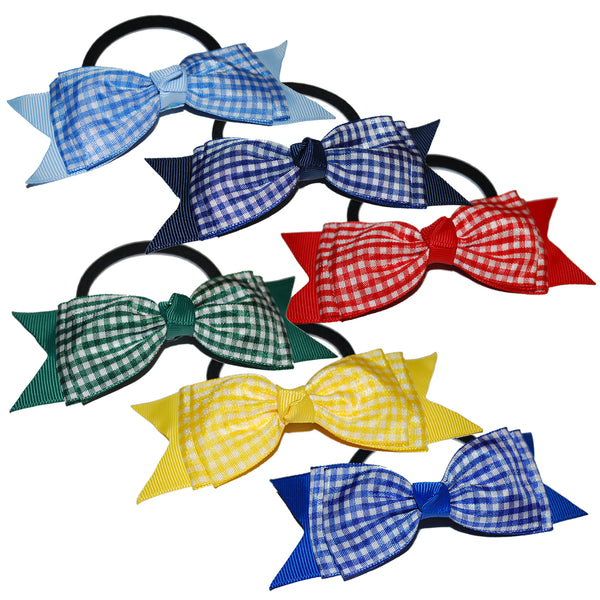 "1 x 5"" 'Bow Tie' Gingham Hair Bow - The Hair Bowtique"