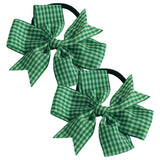 2 x 'Pin Wheel' Ribbon Bow Bobbles | Gingham Check - The Hair Bowtique